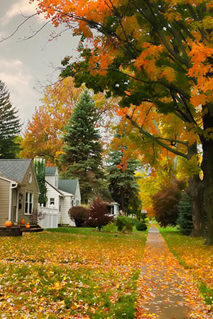 Small-town sidewalk in Autumn