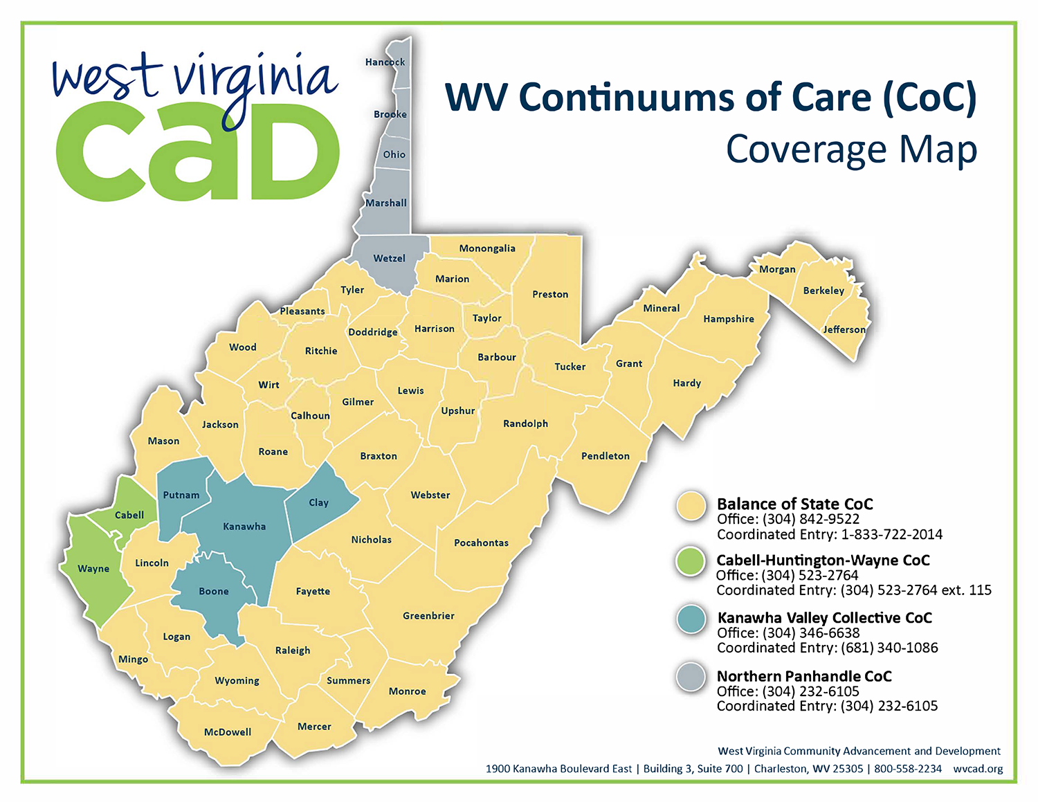 WV Continuums of Care (CoC) Coverage Map